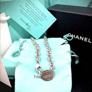 Authentic TIFFANY & CO Oval Tag Choker Necklace